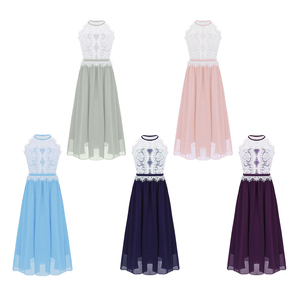 Image 2 - Kids Girls Halter Neck Floral Lace Button Closure Flower Girl Dress Princess Pageant Wedding Bridesmaid Party Ball Gowns Dress