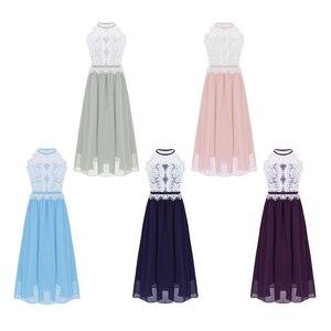 Image 2 - Çocuk Kız Halter Boyun Çiçek Dantel Düğme Kapatma Çiçek Kız Elbise Prenses Pageant Düğün Nedime Parti balo elbisesi Elbise