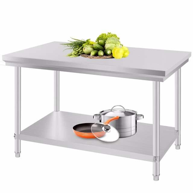 Mesa de preparación de alimentos para cocina comercial de acero inoxidable  24 \