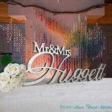 Пользовательские Mr& Mrs фамилия свадебный стол знак большой Центральным украшения персонализированные пользовательских подписать свадьба знак Семья имя