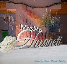 Niestandardowe pan i pani nazwisko stół weselny znak duży centralny dekoracja spersonalizowany znak niestandardowy znak ślub znak nazwa rodziny
