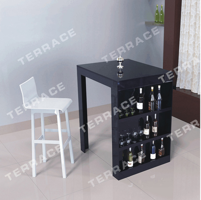 (FREE SHIPPING)Lucite Mini Bar Table With Wine Rack,Modern Acrylic Pub  Tables