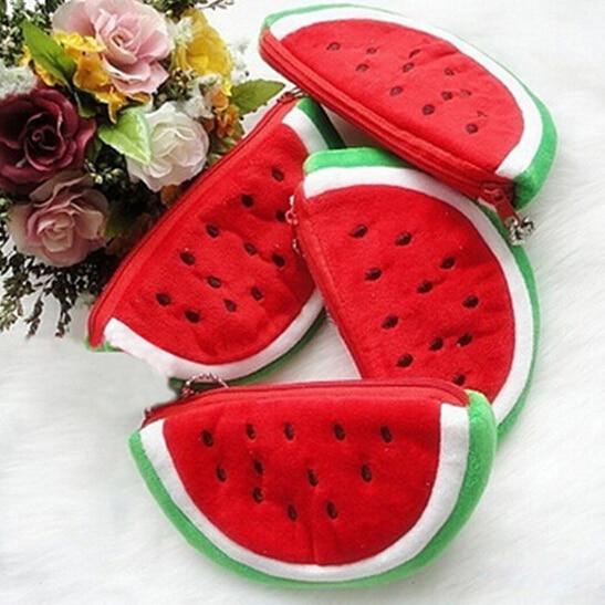Practical Bags Big Volume Watermelon Fruit Kids Pen Pencil Bag Gift Cosmetics Purse Wallet Holder Pouch Office School Supplies