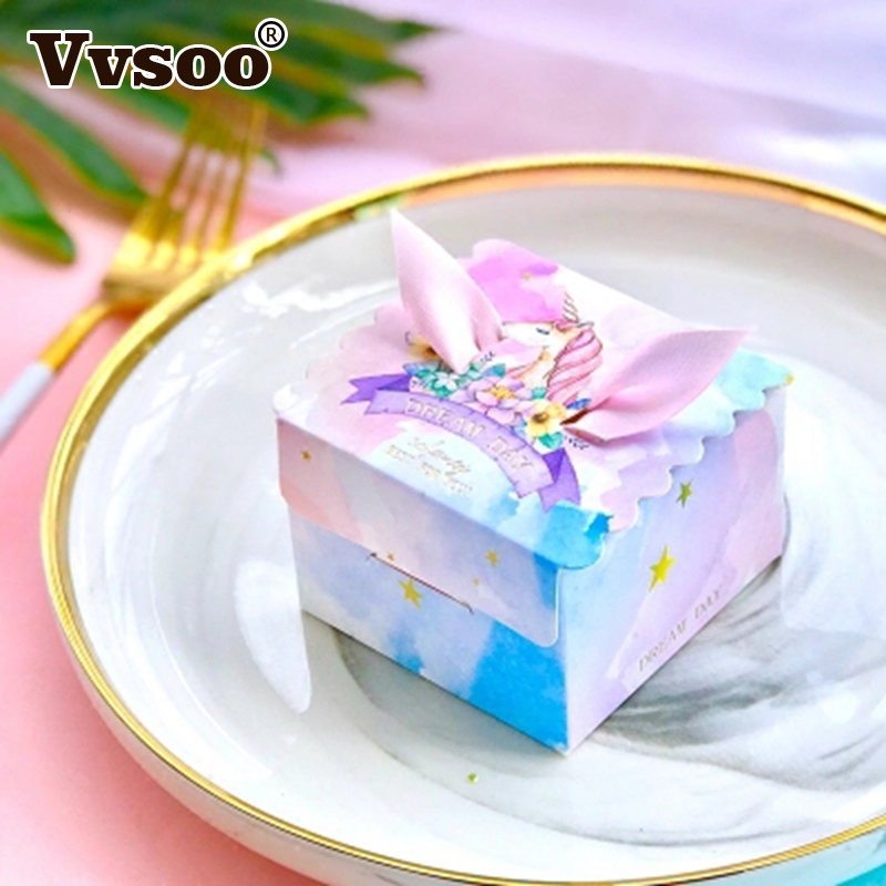 Vvsoo 10pcs Unicorn Paper Gift Bags Square Candy Box For Unicorn Party Baby Shower Birthday Candy Box Birthday Party Supplies