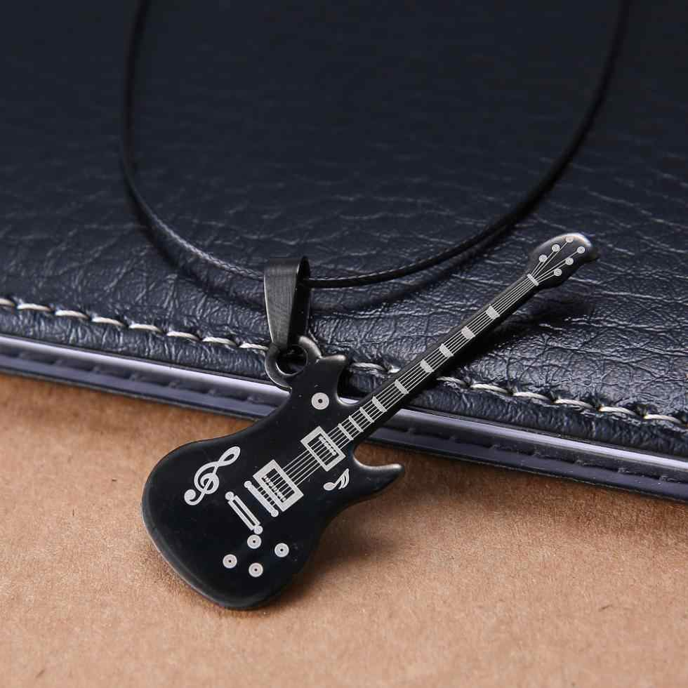 Гитара мужские ювелирные изделия подарок 316L нержавеющая сталь кулон черный кожаный ошейник модное ожерелье s для wo мужчин