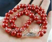 10mm Red South Sea Shell Pearl Necklace # # a # a