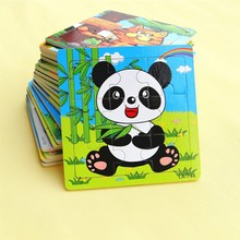 New Arrival Design Lovely Kids Wooden Toys 9 Pieces Of Wood Puzzle Puzzle Toys Cartoon Animals