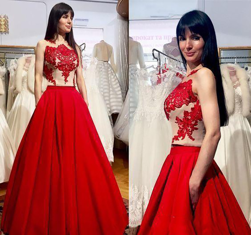 Elegant   Evening     Dresses   Vintage Red Satin Lace Illusion Long Prom   Dresses   Sleeveless A Line Floor Length   Evening   Maxi   Dresses