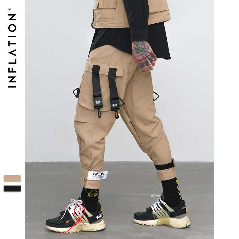INFLATLION Loose Fit Elastic Waist Cargo Pants Street Ankle Banded Pants Large Pockets Casual Pants Fashion Cargo Pants 8884W