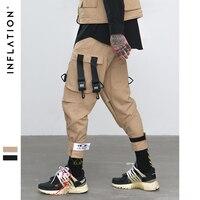 INFLATLION мужская одежда брюки мужские летние свободный крой эластичный пояс брюки карго уличные брюки с резинками на щиколотках брюки мужские...