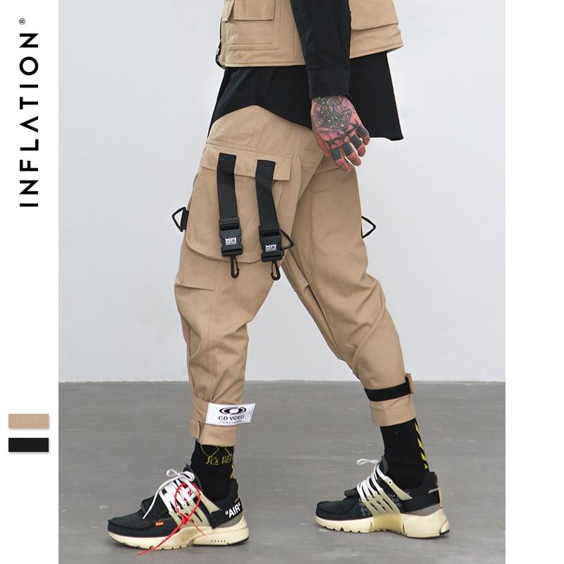 INFLATLION свободная посадка эластичный пояс штаны-карго улица лодыжки Banded Pants большие карманы Повседневное штаны модные штаны-карго 8884 Вт