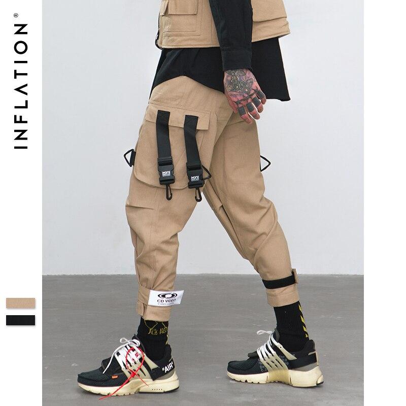 INFLATLION ample Fit taille élastique Cargo pantalon rue cheville bandé pantalon grandes poches pantalons décontractés mode Cargo pantalon 8884 W