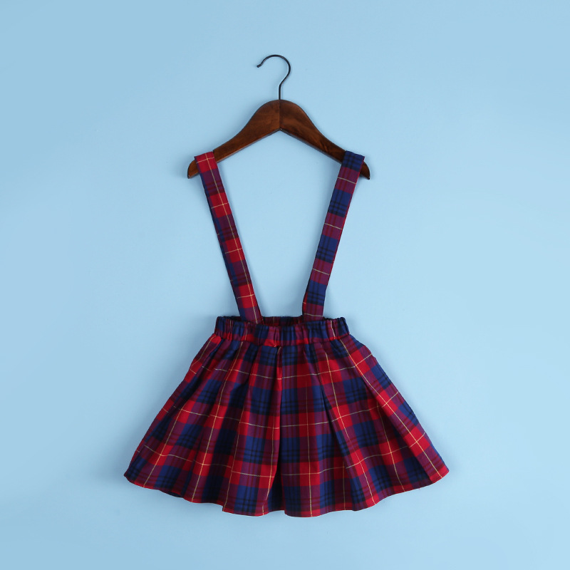 1fe85692f7 2016 Kids Overalls Skirts For Girls Fall Baby Girl Plaid Skirt Toddler Girl  Red Blue Suspender Skirts England Style School Cloth-in Skirts from Mother  ...