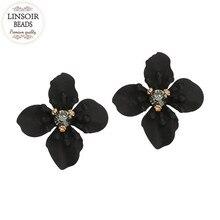 LINSOIR 2017 Елегантний чорний кристалічний квітковий сережки для жінок Модний вислів Сережки з підвісками Pendientes Mujer Moda F10057