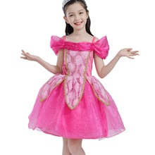 Little Girls Princess Aurora Costume Mesh Tutu Tulle Dress Sequin Puff Sleeve Cosplay Fancy Up Party dresses Vestido 2019 New цены