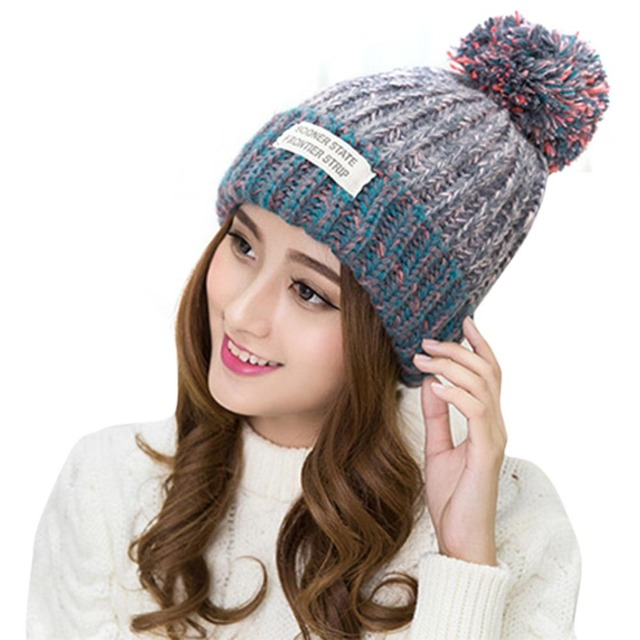 Winter Hats For Women Autumn Warm Wool Knitted Crochet Women Fur Pompom Beanie  Caps Trendy Pom Pom Hat bonnet Femme Headwear 4eba7183481b
