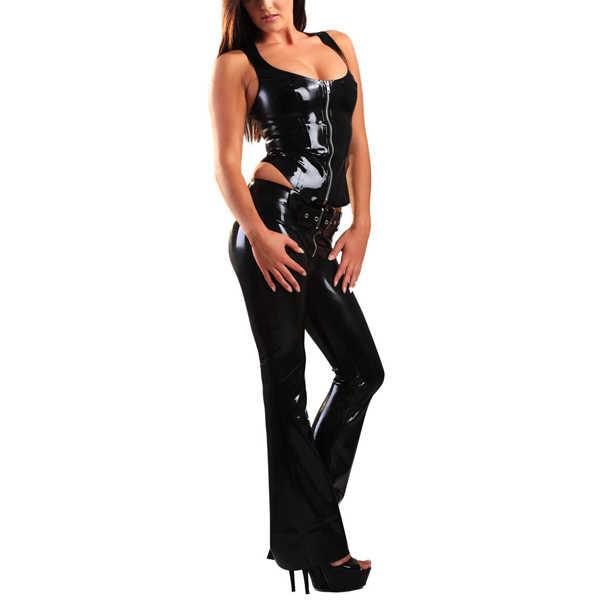 Латексные джинсы с низкой посадкой черные латексные брюки сексуальные брюки с латексом без рукавов рубашки молния спереди