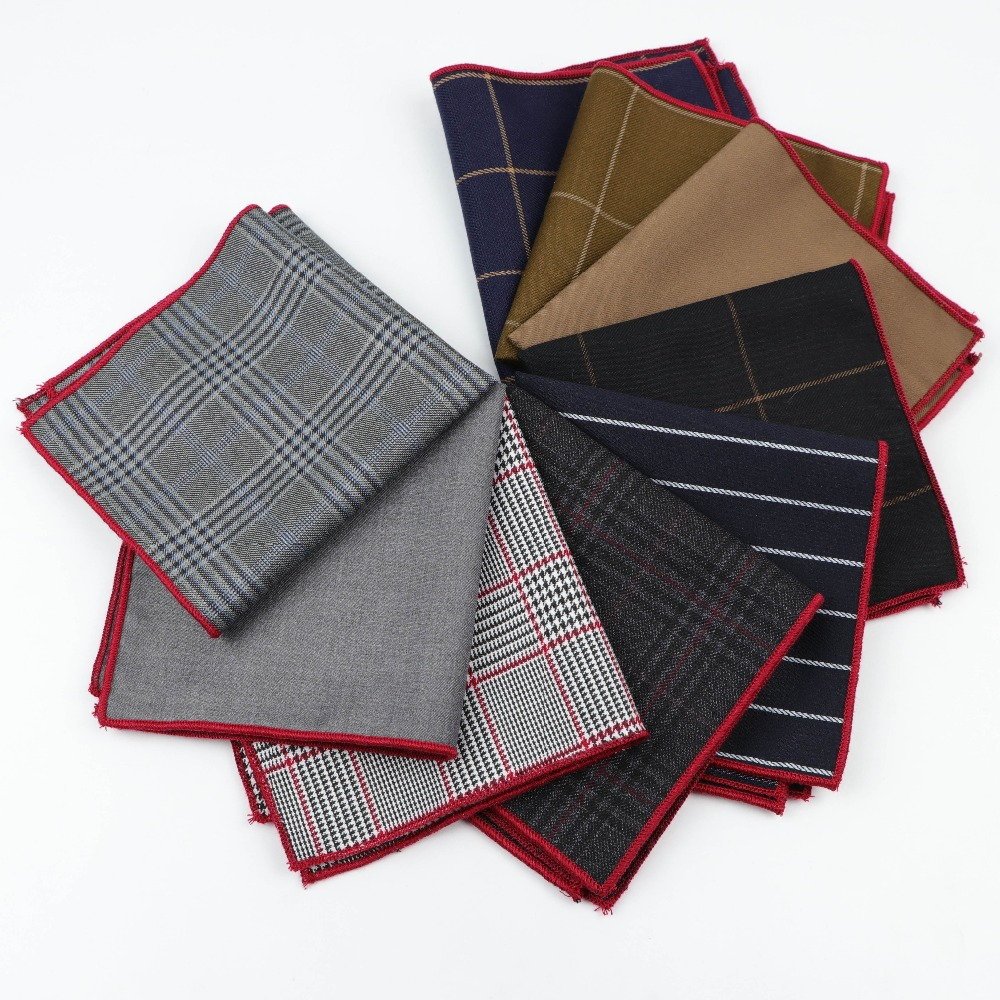 High Quality Hankerchief Scarves Vintage Fabric Of Business Suit Hankies Men's Pocket Square Handkerchiefs Wool Cotton 25*25cm
