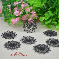 Free shipping(30pcs/lot)black hollow round Sewing Floral Motif Venise Lace Applique for Garment Embroidery Lace patches 17071103