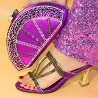 Wonderful purple women high heel shoes and nice bag with rhinestone decoration african pumps match handbag set V219,heel 10CM