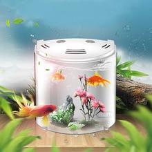 5L Small Desktop USB LED Fish Tank Half Moon Mini Aquarium Acrylic With Light Durable Aquatic Pet Supplies #3