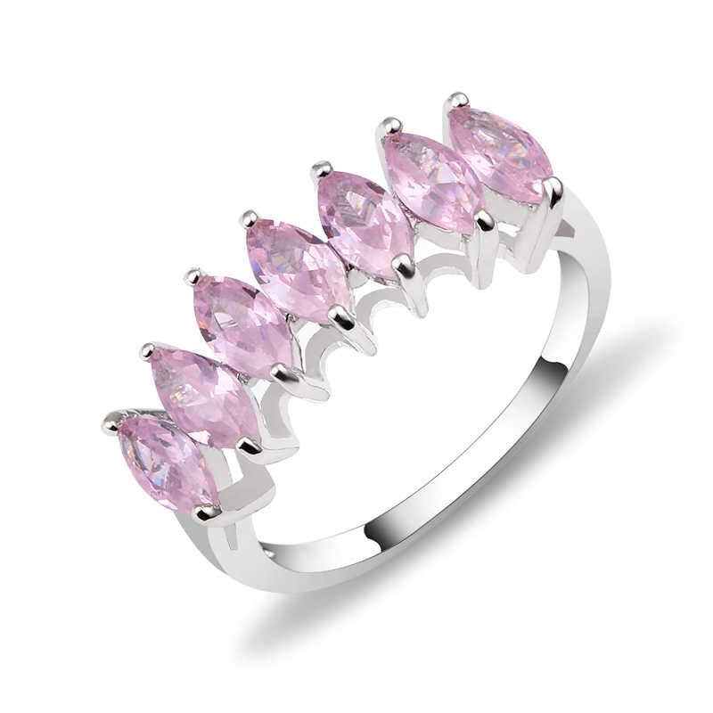 Серебряное штабелируемое кольцо Forever круглый, прозрачный CZ кольца для женщин обручальное & обручальное ювелирное изделие подарок мода фиолетовый зеленый розовый цвета