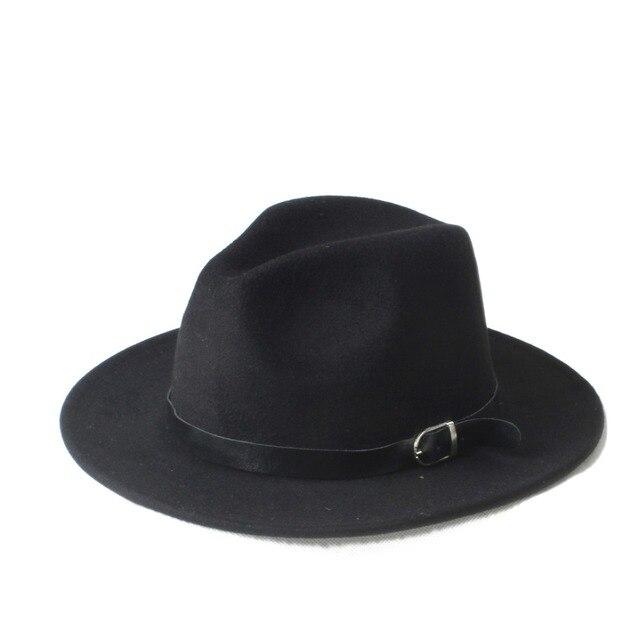 New Fashion Men s Women s Chapeu Feminino Fedora Hat With Wide Brim Leather  Band Jazz Church Cap 1e45d07fa9d