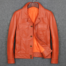 Free Shipping Orange Color Man Genuine Leather Jackets Cow Skin Casual Genuine Leather Coat For Man cheap Leather Suede Cow Leather Turn-down Collar Short COTTON STANDARD Full Slim Pockets Button DAYDAYFASHION zipper NONE Solid