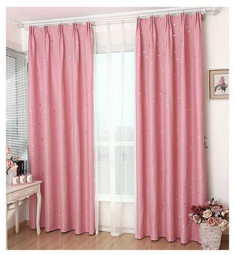 Blackout Kitchen Curtains Polyester Valance Tiers 3: Window Curtains Solid Color Stars Pattern Finished