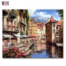 WEEN Europe City Painting Pictures By Numbers DIY Handpainted Landscape Harbor Town Coloring numbers Home Wall Oil Artwork