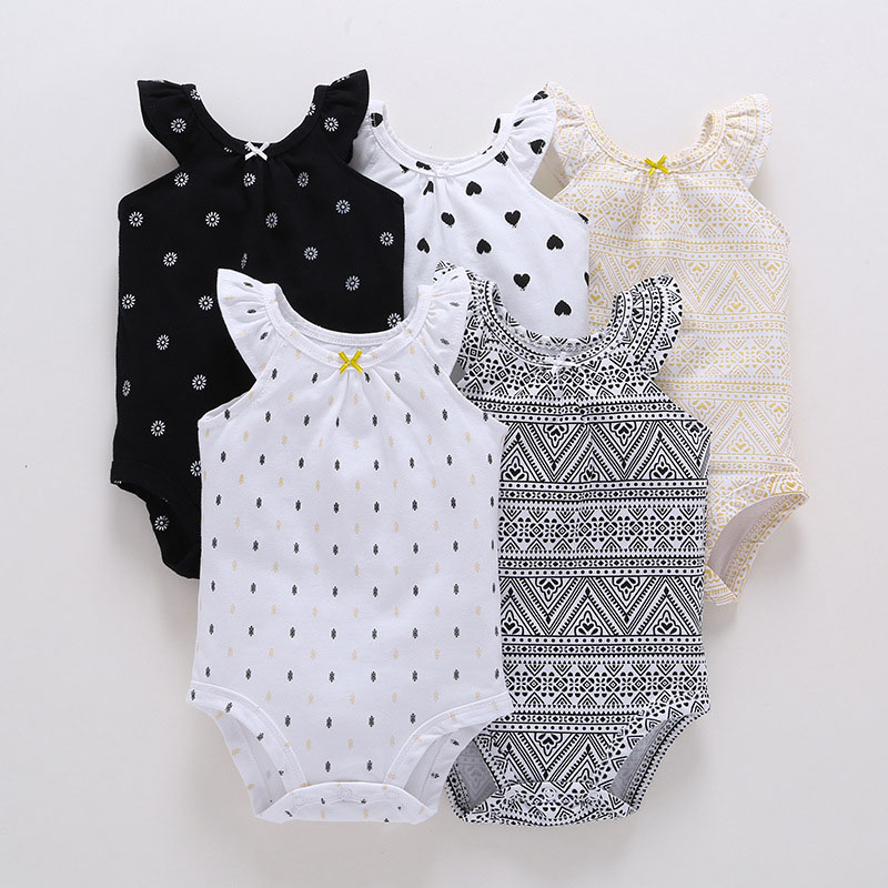 2018 New Model 5pcs/lot Summer Sleeve-less Toddler's Cotton Bodysuits Baby Boy And Girl Suit Baby Outwear Hot Sell Baby Bodysuit