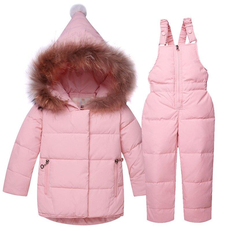 2017 Children's Down Jacket Baby Girl Boy Clothes Sets Winter Warm Hooded Newborn Infant Snow 90% White Duck Down 1 2 3 Years