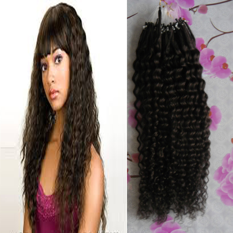Malaysia Kinky Curly Apply Natural Hair Micro Link Hair Extensions