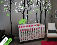 Custom color Large Birch Trees With Birds Leaves And Elephants Wall Decals Vinyl wall Stickers Forest Nursery Wall Tattoo JW210