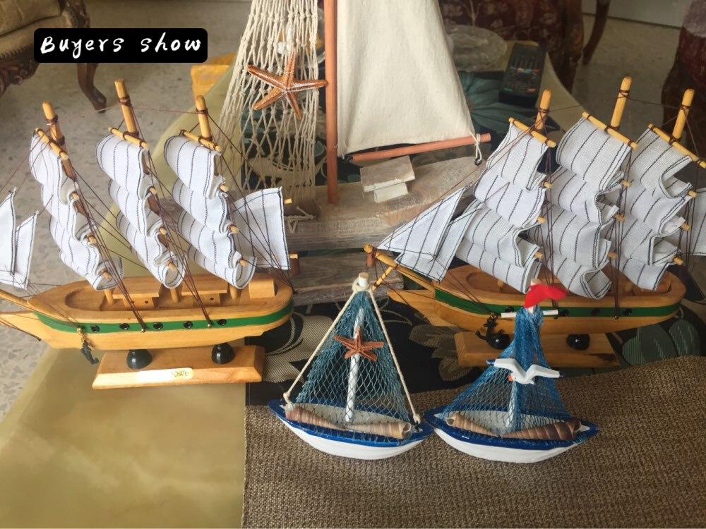 Yeni Ev Mobilya Akdeniz Retro Yelkenli Ahşap Tekneler Modeli - Ev Dekoru - Fotoğraf 6