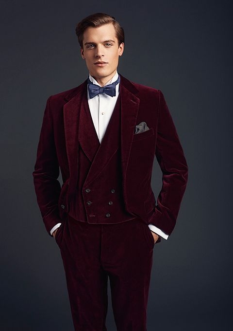 New Arrivals Dark Red Velvet Mens Dinner Prom Suits Groom Tuxedos Groomsmen Wedding Blazer Suits (Jacket+Pants+Vest+Tie) K:2791
