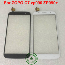 TOP Quality Black white Front Glass Panel Touch Screen Digitizer For Zopo ZP990 ZP990+ C7 Free shipping