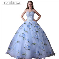 2018 Modest Floral Print Evening Dresses Sweetheart Beading Tulle Formal Ball Gown Prom Dress Robe De