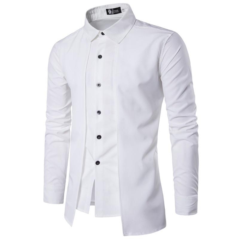 New Brand 2018 Men Shirt Fake Two Doors Dress Shirt Long Sleeve Slim Fit Camisa Masculina Casual Male Hawaiian Shirts 2XL