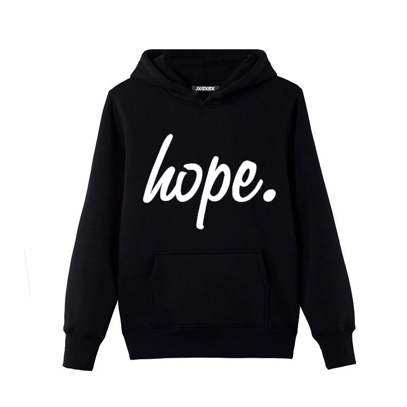 Fashion 2017 Autumn Winter Brand Men Hoodies Fashion Casual HOPE letter print Sweatshirt Hip Hop Pullover Hooded Men Hoodies
