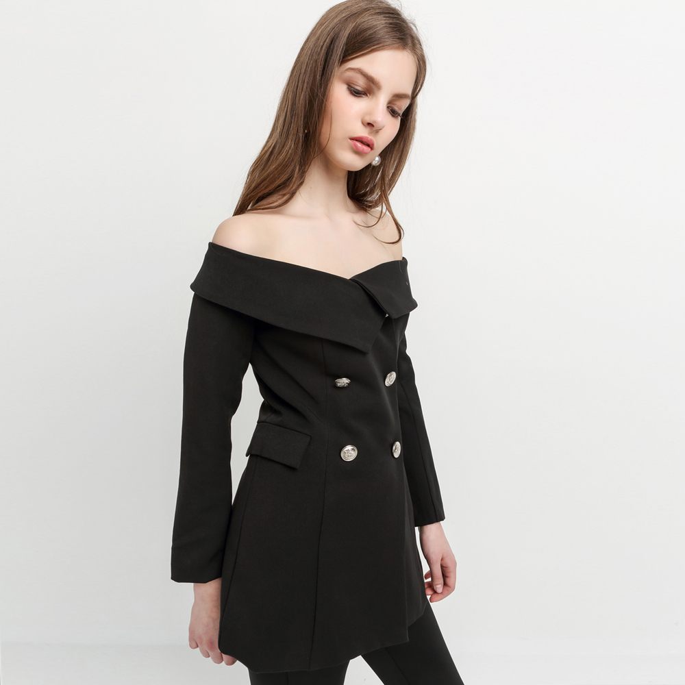 Off Shoulder Sexy Blazer Black Double Buttons Slash Neck Vintage Slim Coats Office Lady Casual Women Outwear For Wholesale