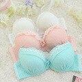 Algodão mulheres conjunto de sutiã sutiã de renda roupa interior de espuma rosa Lolita bonito Push Up sutiã e calcinha conjunto de sutiã e breve conjunto Kit UB022