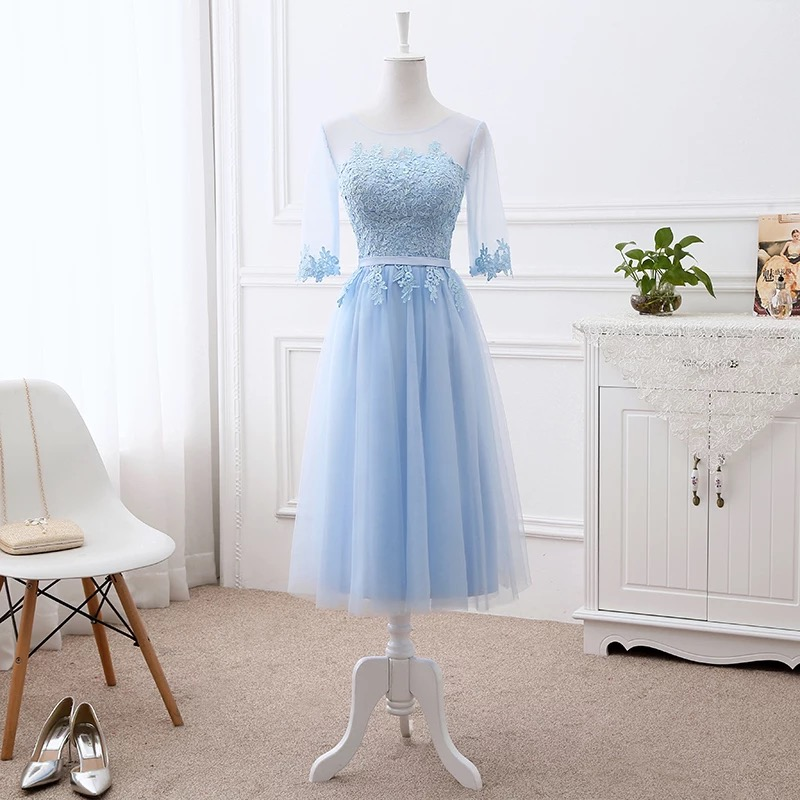 Half Sleeve Tea Length A line Tulle Lace Formal Short Evening Dresses Cheap Dress Women Gown 2019 New Fashion Good Quality DR06M-in Evening Dresses from Weddings & Events    1