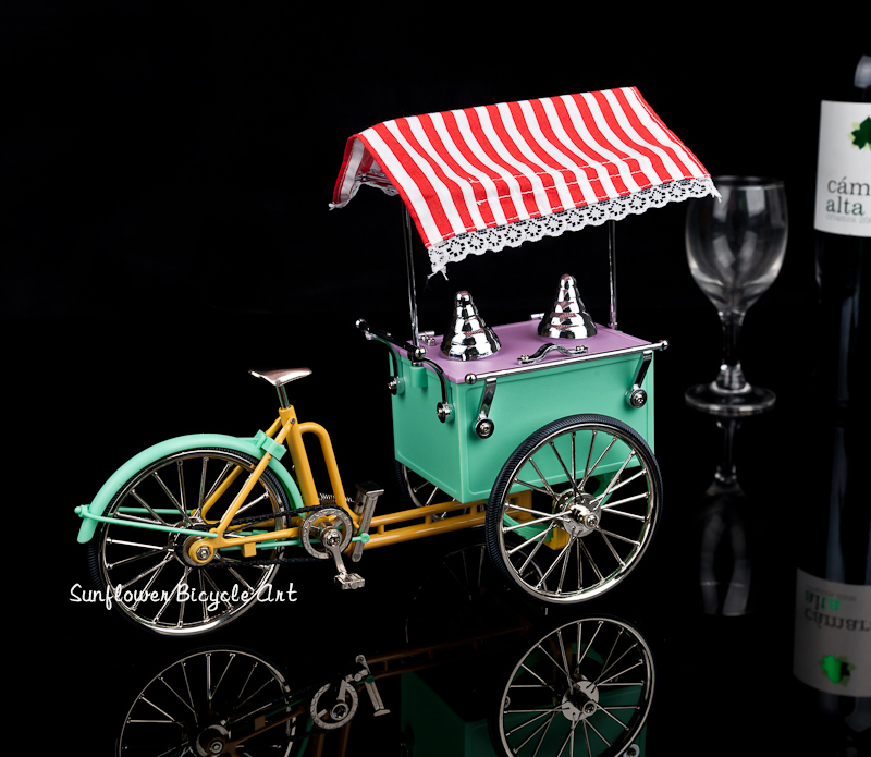 Ice Cream Truck Model Alloy Simulation Bicycle Toy Fashion Home Decoration Ornaments