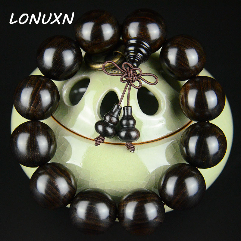 20mm authentic high quality male Natural Ebony Prayer Beads Tibetan Buddhist Bracelets Mala Buddha Necklace Wooden Jewelry tibet tibetan turquoise buddhist buddha prayer bead bracelet dzi eye pendant necklace sweater chain jewelry gift wholesale