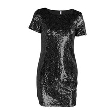 Sequins Sparkly Dress  Spring Summer Women Sexy Short T Shirt Dress Evening Party Elegant Club Dresses