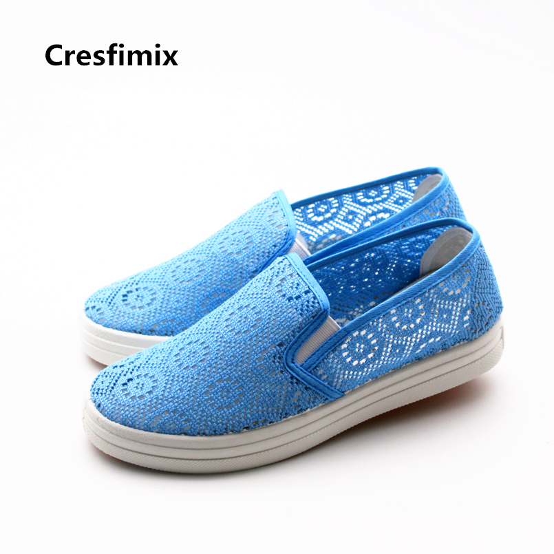 Cresfimix zapatos de mujer women casual mesh breathable flat shoes lady cute spring & summer slip on flats cute comfy shoes