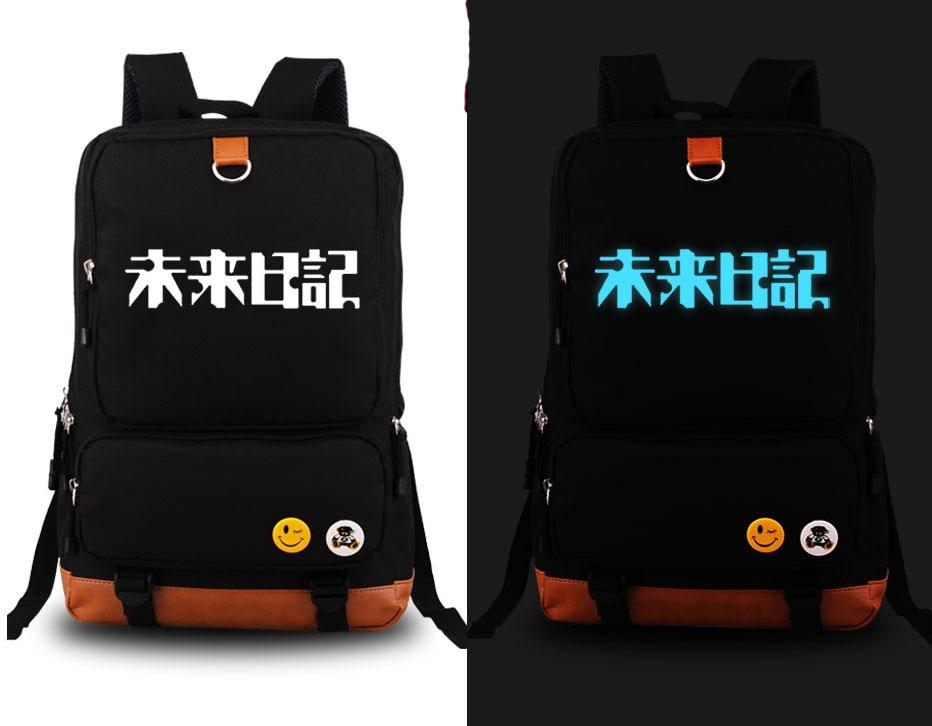 Hot Anime Future Diary Mirai Nikki Gasai Yuno Luminous Cosplay Backpack Canvas Student Schoolbag Unisex Travel Bags