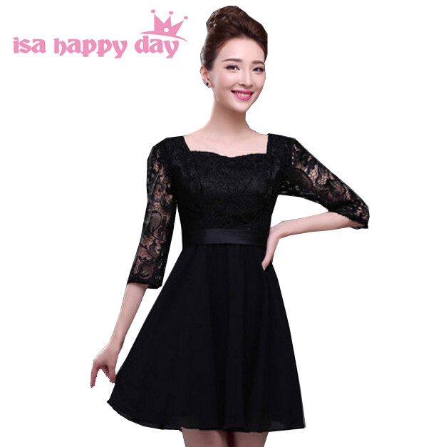Online Shop Red Black Lace Dress For Woman For Modest Short Evening