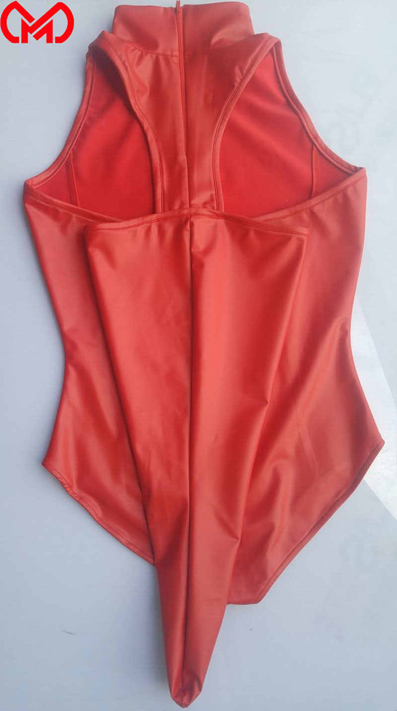 MEISE COSPLAY lateksowa pokojówka wysoko wycięte body bandaż otwarte krocza Catsuit pokojówka Cosplay kostium Sexy nosić trykot Plus rozmiar F79